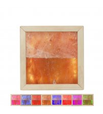 Himalayan salt light LED RGB. Abachi wood