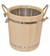 Wooden bucket with a rope, 15 L