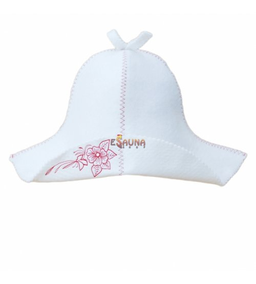 Pirties kepurė  su gėle (balta)
