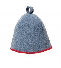 Pirties kepurė pilka su raudona juostele