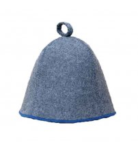 Sauna Hat, grey with blue strip