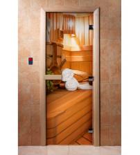 Szklane drzwi sauny z filmem fotograficznym A032
