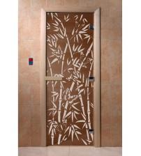 Szklane drzwi do sauny - bambus, brąz