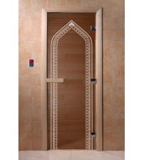 Sklenené dvere do sauny - oblúk, bronz