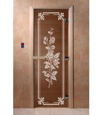 Stiklinės pirties durys Rožė, bronza