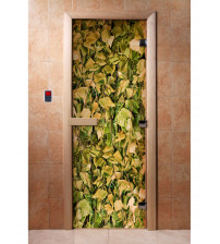 Glass sauna door with photo film A001