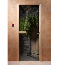 Porte de sauna en verre avec film photo A002
