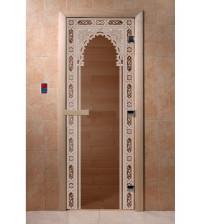 Sklenené dvere do sauny - oblúk 2, bronz