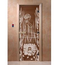 Stiklinės pirties durys Stabuklingas garas, bronza