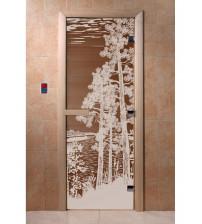 Stiklinės pirties durys Miškas, bronza