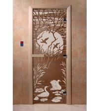 Stiklinės pirties durys - Antys, bronza