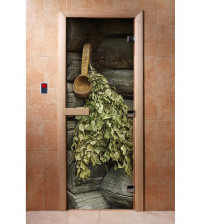 Porte de sauna en verre avec film photo A003
