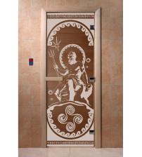 Stiklinės pirties durys Poseidonas, bronza