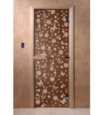 Stiklinės pirties durys Drugeliai,  bronza