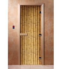 Porte de sauna en verre avec film photo A019