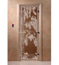 Sklenené dvere do sauny - breza, bronz