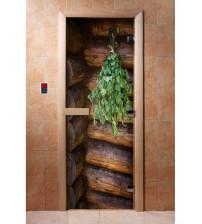 Porte de sauna en verre avec film photo A005
