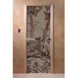Szklane drzwi z rysunkiem