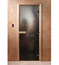 Porte de sauna en verre avec film photo A010
