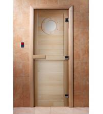 Porte de sauna en verre avec film photo  A023
