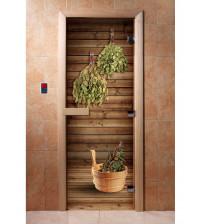 Glass sauna door with photo film A004