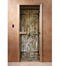 Porte de sauna en verre avec film photo A028