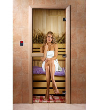 Porte de sauna en verre avec film photo A015