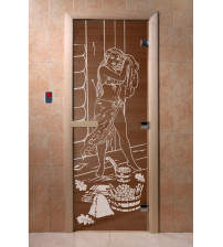 Szklane drzwi do sauny - L 99, brąz