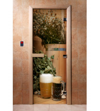 Glass sauna door with photo film  A017