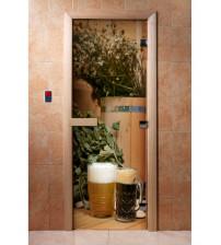 Porte de sauna en verre avec film photo A017