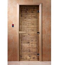 Porte de sauna en verre avec film photo A020