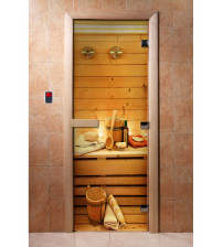 Glass sauna door with photo film  A033