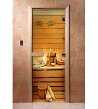 Sklenené saunové dvere s fotofóliou A033