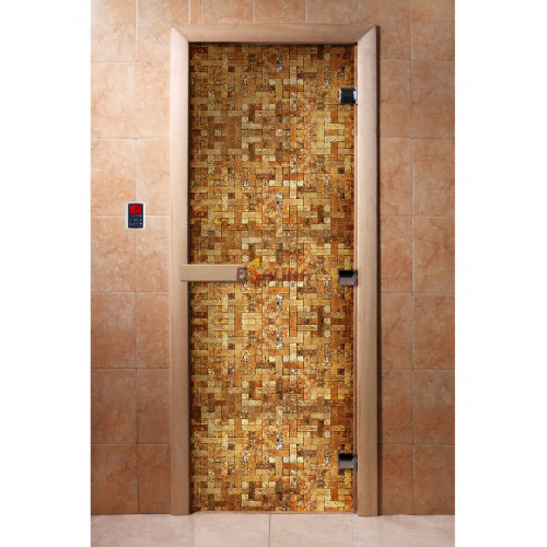 Stiklinės pirties durys su foto plėvele A054