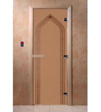 Stiklinės pirties durys Arka, bronza, matinės