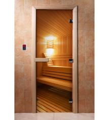 Porte de sauna en verre avec film photo A031