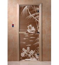 Stiklinės pirties durys lagūna, bronza