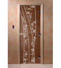 Stiklinės pirties durys - Pavasaris, bronza