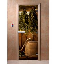 Stiklinės pirties durys su foto plėvele A098