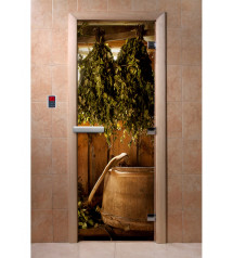 Porte de sauna en verre avec film photo A098
