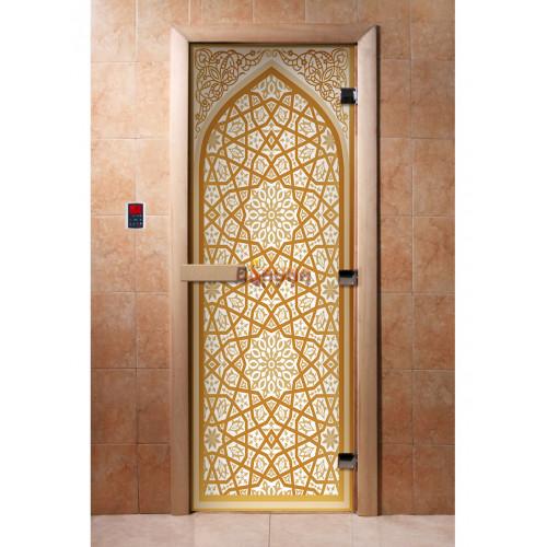 Stiklinės pirties durys su foto plėvele A026
