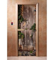 Porte de sauna en verre avec film photo A030
