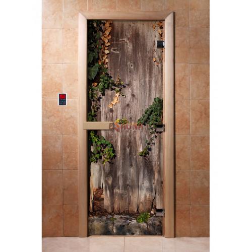 Stiklinės pirties durys su foto plėvele A030