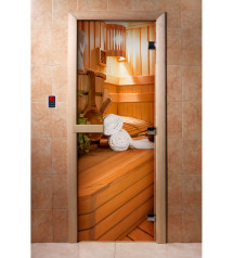 Porte de sauna en verre avec film photo A032