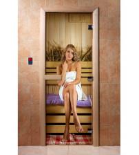Puerta de sauna de vidrio con película fotográfica A015