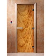 Porte de sauna en verre avec film photo A051
