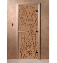Stikla pirts durvis - bambusa, bronzas, matētas