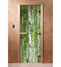 Porta sauna in vetro con pellicola fotografica A084