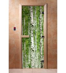 Porte de sauna en verre avec film photo A084