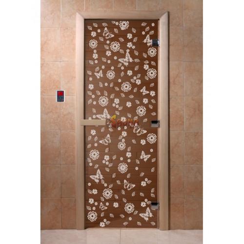 Glass sauna doors - Butterfly, bronze